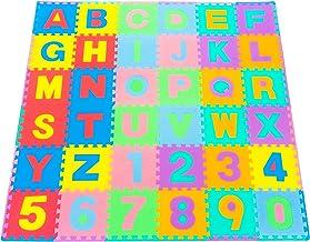 بساط لعب أحجية أرضية الإسفنج للأطفال بأشكال وألوان وأرقام وحروف الأبجدية، 36 بلاط، 30 × 30 سم و24 حدًا