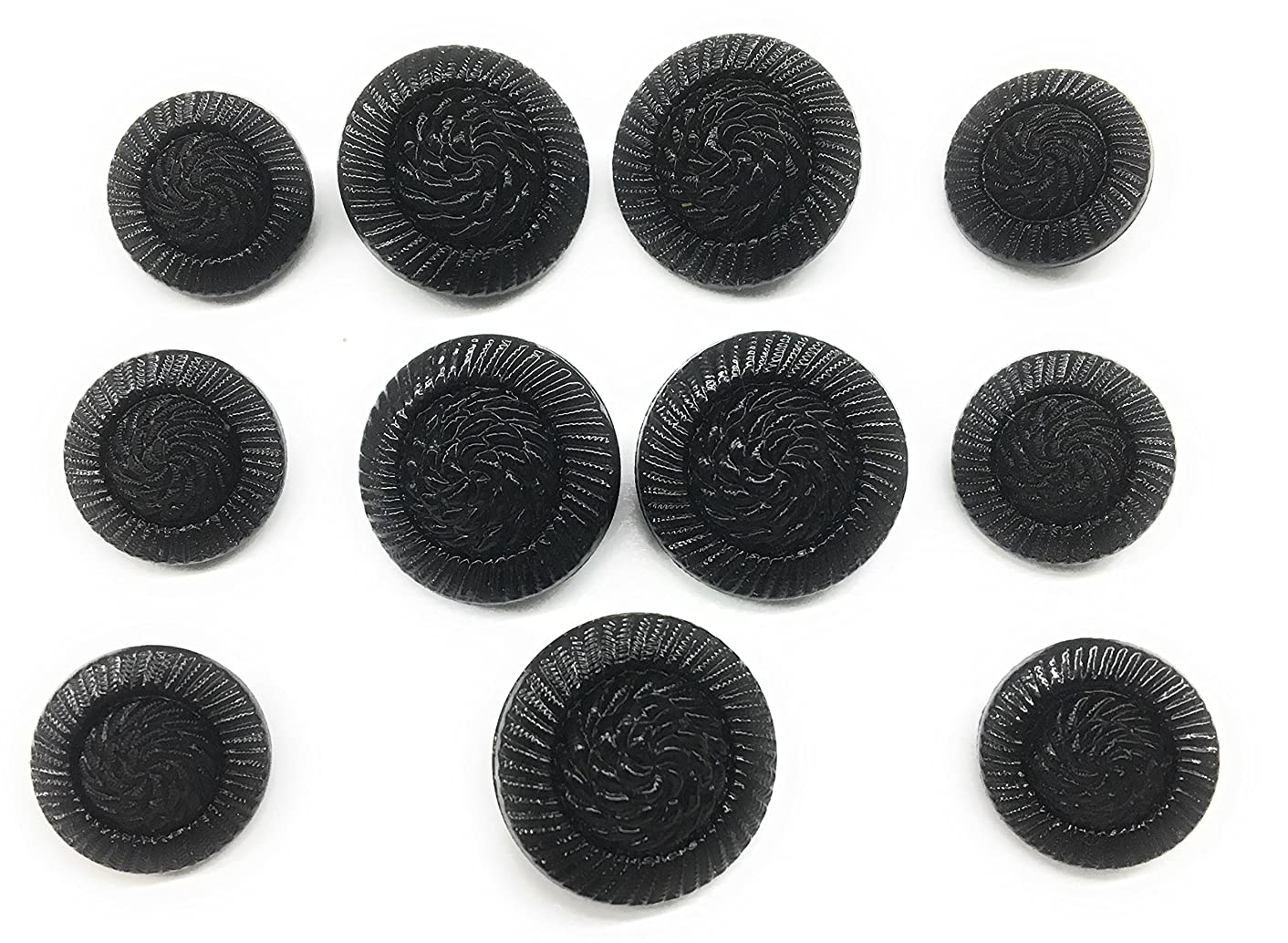 Jet BLACK Button Glass Cord Design BUTTON Set for Dress and Suits 11pc.