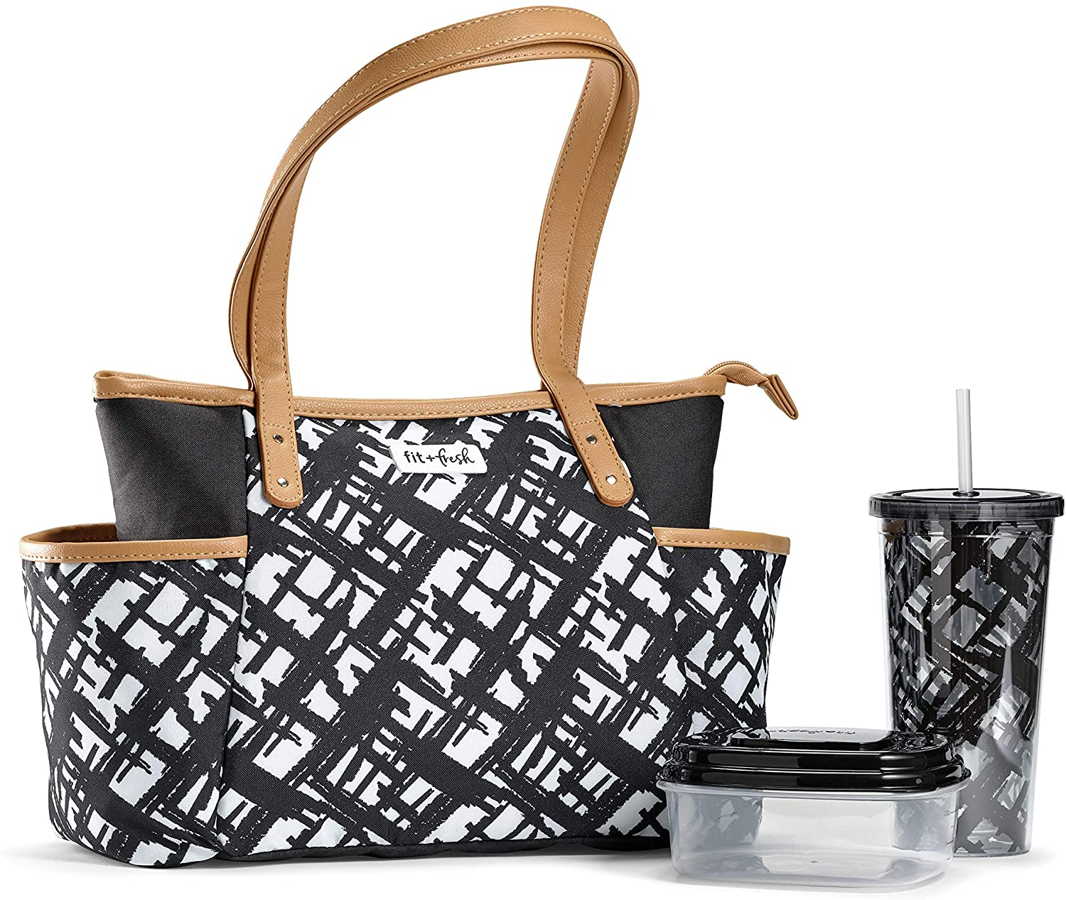 Fit & Fresh Novato Insulated Lunch Bag with Matching Straw Tumbler and Container, for School, Beach, Office, and Work, Large, Black