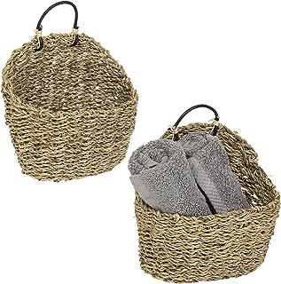 MyGift 8-Inch Handmade Weave Hanging Storage Baskets, Set of 2