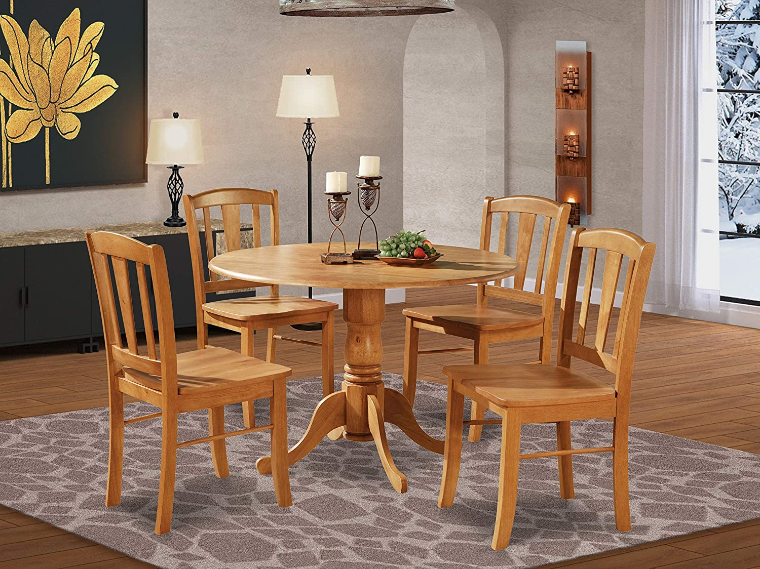 Amazon Com Dlin5 Oak W 5 Pc Small Kitchen Table And Chairs Set Round Table And 4 Dinette Chairs Chairs Furniture Decor