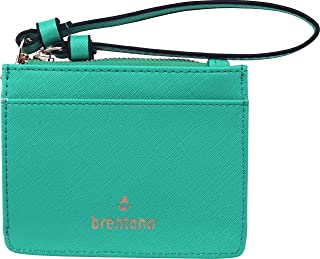 B BRENTANO Vegan Saffiano Leather Slim ID Credit Card Case with Wristlet Strap (Turquoise)
