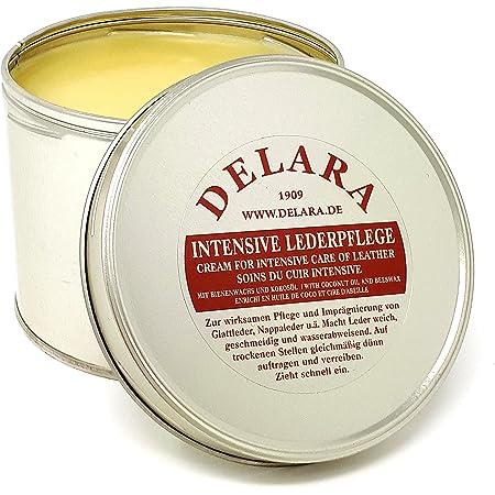 DELARA Entretien intensif du Cuir, incolore, 500 ML - Imprègne et protège Le Cuir très efficacement, Nouvelle Formule à Base d'huile de Coco et Cire d'abeille de Haute qualité - fabriqué en Allemagne