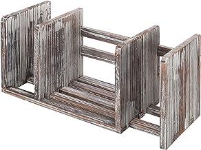 MyGift Torched Wood Adjustable-Width Desktop Bookshelf