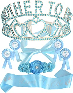 Mother To Be Tiara Hearts Crown Blue + Maternity Flower Belly Belt Blue+ Mommy to Be Sash and Pin + Dad To Be Pin + Grandma To Be Pin + Grandpa To Be Pin, Baby Shower Party Favors Decorations for Boy