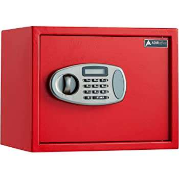 AdirOffice Security Safe with Digital Lock - Red - 1.25 Cubic Feet