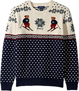 Ski Bear Cotton-Merino Sweater (Big Kids)