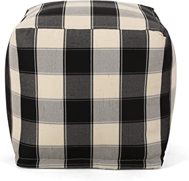 Christopher Knight Home Jacqueline Modern Fabric Checkered Cube Pouf, Ivory + Black
