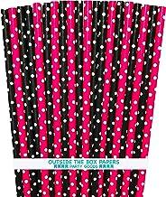 ماصات ورقية - وردي ساخن وأسود وأبيض - منقط - 100 قطعة