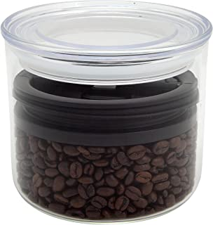 Airscape Glass Coffee and Food Storage Canister (1/2 lb Dry Beans) - Patented Airtight Lid Preserves Food Freshness - Two Way Valve Releases CO2-32oz Glass Storage Container