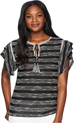 Tiered Ruffle Sleeve Zigzag Stripe Tie Neck Top