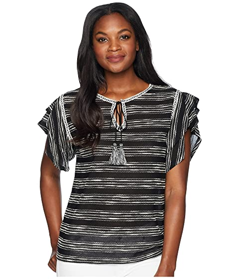 TWO by Vince Camuto Tiered Ruffle Sleeve Zigzag Stripe Tie Neck Top Rich Black Discounts yITcaIYGNO