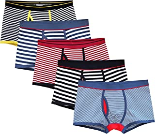 CHUNG Men's Solid Color Stripe Cotton Pouch Boxer Briefs Underwear 5(4) Pack