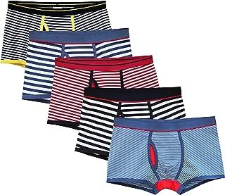 CHUNG Men's Solid Color Stripe Cotton Pouch Boxer Brief Underwear 5(4) Pack