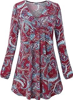 MOQIVGI Womens V Neck Long Sleeve Fashion Casual Blouse Top A-line Flowy Tunic Shirt