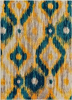 Well Woven Global Bohemian Ikat Blue & Yellow Vibrant Modern Tribal Pattern 5x7 (5'3