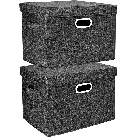 TYEERS 2 Pack Boîtes de Rangement Pliables avec Couvercle et Poignées, Caisse de Rangement pour Vêtements en Tissu Lavable - Noir