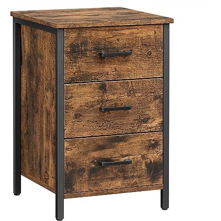 VASAGLE Table de Chevet 3 tiroirs, Table de Nuit, Table d'appoint, Chambre, Salon, 40 x 40 x 60 cm, Style Industriel, Marron Rustique et Noir LET509B01