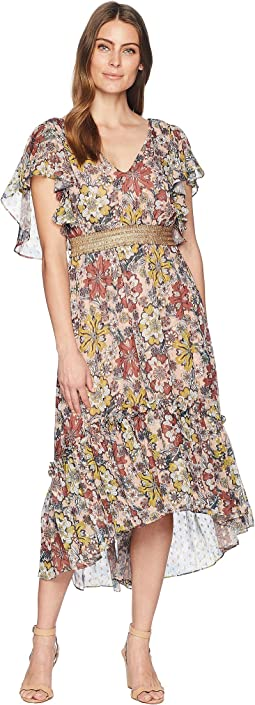 Flutter Sleeve Printed Chiffon Cinched Waist Maxi Dress