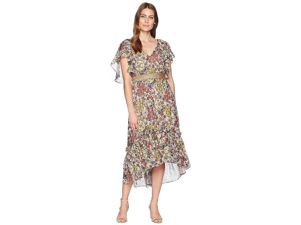 Taylor Flutter Sleeve Printed Chiffon Cinched Waist Maxi Dress (Pinkshore Multi) Women