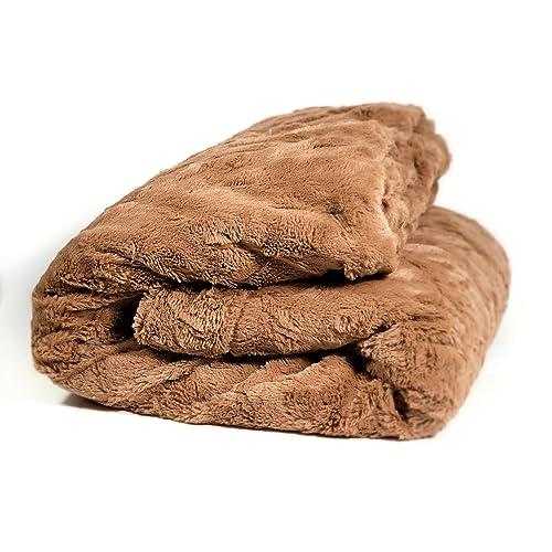 Tache Home Fashion DaDa Super Soft 63 X 87 Luxury Brown Loose Layer Faux Fur Throw Blanket