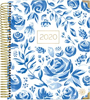 """HARDCOVER bloom daily planners 2020 Calendar Year Goal & Vision Planner (January 2020 - December 2020) - Monthly/Weekly Column View Agenda Organizer - 7.5"""" x 9"""" - Blue & White Floral"""