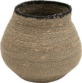 Bloomingville Hand-Woven Seagrass, Grey & Black Basket