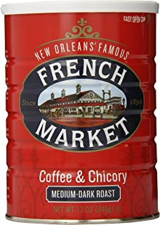 French Market Coffee, Coffee & Chicory, Medium-Dark Roast Ground Coffee, 12 Ounce Metal Can