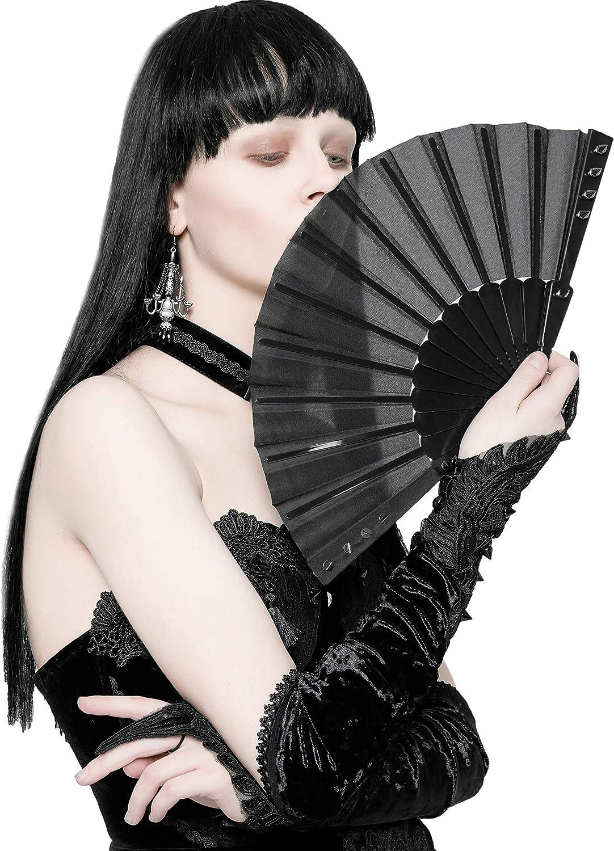 Punk Rave Black Gothic Rivet Folding Handheld for Max Omaha Mall 58% OFF Hand Fan