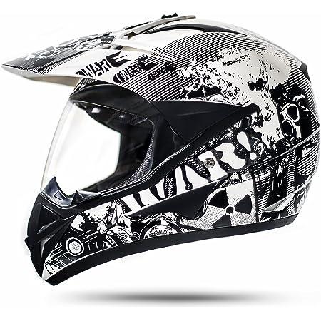 Protectwear Crosshelm Endurohelm Motorradhelm Mit Integrierter Sonnenblende Und Visier V331 Sm L Schwarz Auto