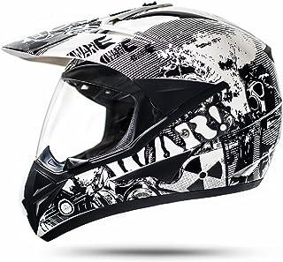 ATO-Helme GS War Weiß Crosshelm mit Visier für Quad ATV Enduro Motorradhelm ECE 2205 Größe: L 59-60cm