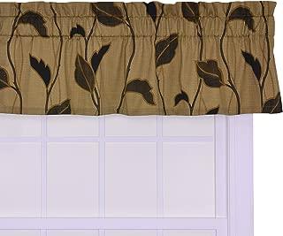 Ellis Curtain Riviera Large Scale Leaf and Vine Tailored Valance Window Curtain, Coffee