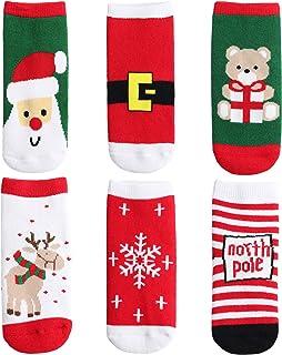 ANIMQUE Bebé Niños Calcetines Edición navideña 6 pares, 0-10 años muchachos chicas invierno calcetines de becerro recién n...