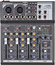 Audio2000'S AMX7303 Professional Four-Channel Audio Mixer with USB and DSP Processor