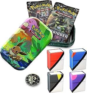 Totem World Eevee Kanto Friends Mini Tin with 1 Totem World Deck Box (Random) Bundle - Perfect for Pokemon Cards