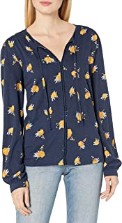 Lucky Brand Women's Long Sleeve V Neck Floral Printed Peasant Top