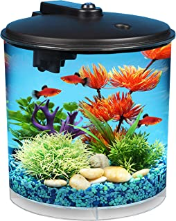 Koller Products AquaView 2-Gallon 360 Fish Tank with Power Filter and LED Lighting – AQ360-24C