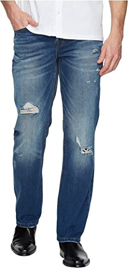Relaxed Straight with Destruct in Rigid Denim in Waco Destruct