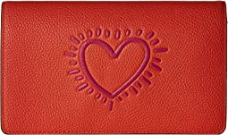 COACH Keith Haring Leather Fold-Over Clutch Crossbody,Bright Orange