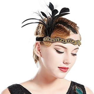 Schwarz Beige Federstirnband Kopfstück Fancy Dress Haarband Cosplay Haarreif