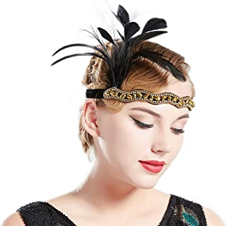 BABEYOND 1920S Flapper Headband Roaring 20s Black Feather Headpiece Gatsby Hair Accessories with Crystal (Gold)