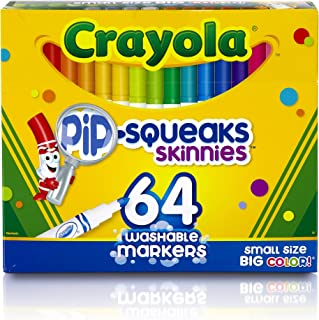 Crayola Skinnies Markers, 64 Washable Colours, Art & Craft, Easy to Hold, Colouring, Ages 3, 4, 5, 6