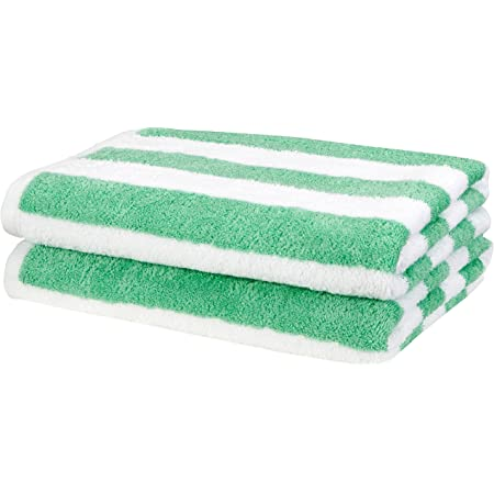 Amazon Basics Cabana Stripe Beach Towel - Pack of 2, Green