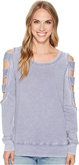 Allen Allen - Open Cut Stripe Sleeve Top
