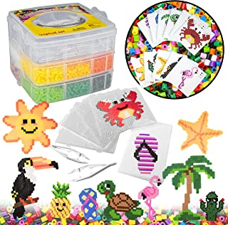 Tweezers 25 Colors Works w Perler Beads Case Ironing Paper 4 Peg Boards 12 Unique Templates 10,000pc Fuse Bead Fairy Kit w Carrier CASE Pixel Art Color by Numbers Project Gift