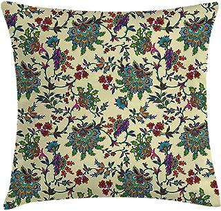 shizh Funda de cojín Almohada Diseño de Motivos Florales orientales Tradicionales gráficos Diseño Ornamental Impresión Colorida,Pillowcase 45x45 cm