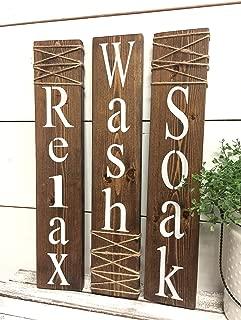Wash Relax Soak Wood Signs Rustic Bathroom Signs Farmhouse Wall Decor