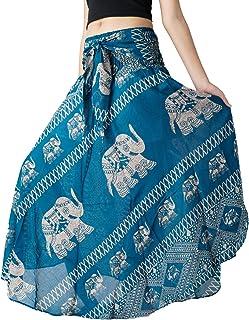 Bangkokpants Women's Long Bohemian Hippie Skirt Boho Dresses Elephant One Size Asymmetric Hem Design
