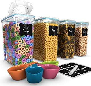 Cereal Container Storage Set - 100% Airtight Food Storage Containers, 18 Labels, Spoon Set & Pen, Great for Flour - BPA Free Dispenser Keepers (135.2oz) 4PC - Shazo
