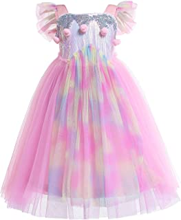 Dressy Daisy Girls Unicorn Dress Up Costumes Birthday Party Pageant Tulle Dress Sequined Rainbow